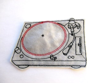 Gray and red turntable machine embroidered iron on felt patch applique, music patch, band patch, patches for jackets