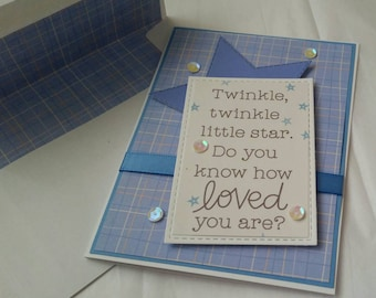 Handmade Baby Boy Card. Baby Shower.
