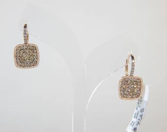 14K rose Gold 3.6G(WEIGHT) Earring Diamond: 1.26 CT