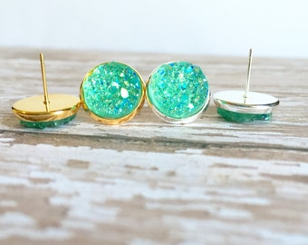 Mint Chunky Sparkle Druzy Stud Earrings - Silver or Gold Tray - Sparkle Earrings - Druzy Jewelry - Big Stud Earrings - Gifts for Her