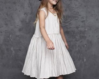 Girl dress / Beige girl dress / Gift for girl / Handmade dress / Kids fashion /