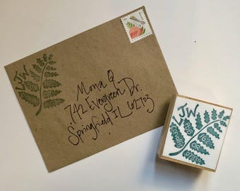 Fern hand carved customized return address stamp