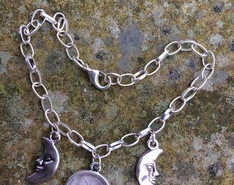 Triple  Aspect Goddess Charm Bracelet, Silver Tone, Maiden Mother & Crone, Triple Moon