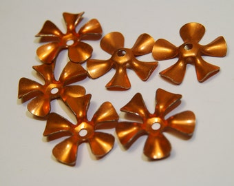 6 Vintage Copper Flowers - 5 petals, center drilled