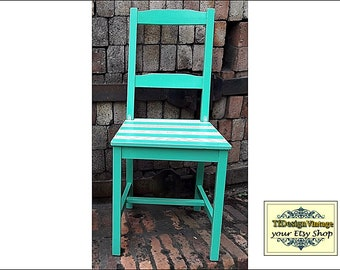 Chair Turquoise, Turquoise chair, Turquoise occasional chair, Turquoise wooden chair, Turquoise lawn chair, Chair painted in torquoise