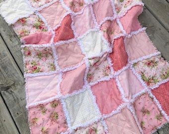 Baby Rag Quilt, Crib Quilt, Toddler Blanket, Vintage Victorian, Cottage Chic, Shabby, Heather, 35 X 48. Blush Pink, Salmon, Ready to Ship