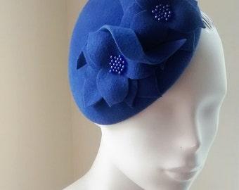 Womens Blue Velour Cocktail Hat