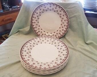 """Set of 6 Copeland Spode Fleur-de-Lis 10.5"""" Dinner plates"""