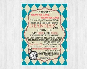 Mad Hatter Bridal Shower Invitation | Bridal shower | Mad Hatter Tea Party | Alice in Wonderland Invitation  |  Printable for Wedding