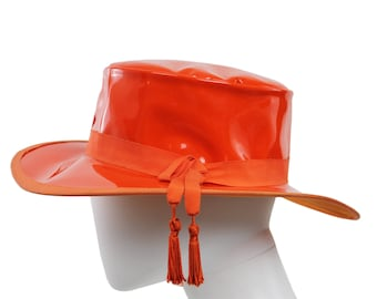 Vintage 60s Mod Orange Shiny Patent Leather Tassel Wide Brim Flat Top Women's Hat