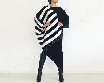 Plus size dress/ BLACK AND WHITE asymmetrical sweater maxi dress caftan tunic winter oversized striped sweater fall fashion