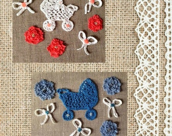 Small crochet flowers,  decorative crochet motifs,  Baby Stroller Lace Applique,  small lace  baby stroller,  small lace decor