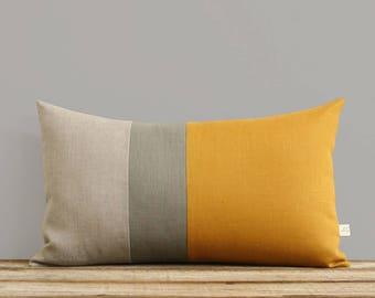 Decorative Lumbar Pillows, Colorblock Pillow Cover in Marigold Linen with Stone Grey Stripe by Jillian Rene Decor (12x20) Modern FW2015