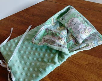 "14.5"" doll teal jungle print sleeping bag and pillow, doll bedding, made to fit wellie wishers, glitter girls and H4H"