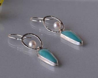 Long Amazonite Earrings, Pearl Earrings in Silver, Long Dangle Earrings, Sky Blue Stone Earrings, Statement Earrings, Boho Earrings