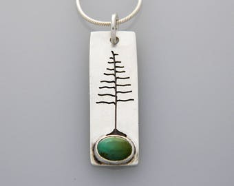 """Silver jewelry, silver tree necklace, nature jewelry with turquoise """"Solstice Tree"""" necklace"""