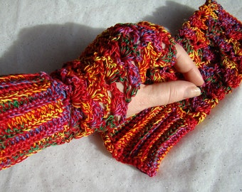 Confetti hand crocheted fingerless lace gloves