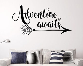 Adventure awaits wall decal- Adventure awaits wall decor- Adventure awaits decal- Adventure awaits wall art- Arrow wall decal- camping decal