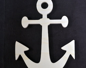 "Wooden Anchor - Nautical Wood cut outs shapes - Anchor cut out wood sign - DIY unfinished sanded and ready for paint 4"" to 24"""