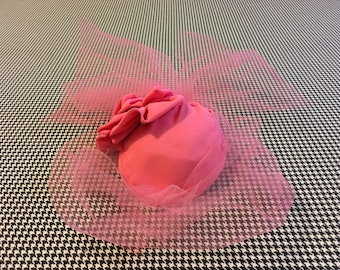 1970's, Pink nylon fascinator hat, with pink, tulle, veil