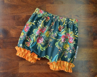 Green Floral Ruffle Bloomers
