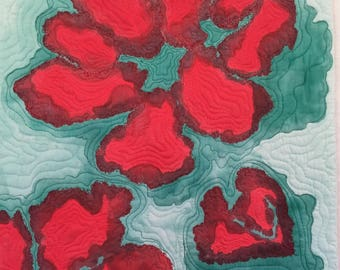 Red Hibiscus Fiber Art Wall Hanging  Contempory Abstract Painting
