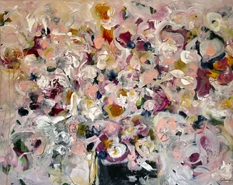 24x36 Original Abstract Floral Painting Large Canvas Flowers Art by Julie Steiner Wall Art Expressionist Artwork