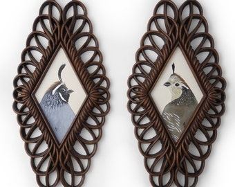 Quail Paintings - husband and wife bird portaits - matching quail couple SET of 2 - ornate faux bois fancy frame - cameo portrait bird pair