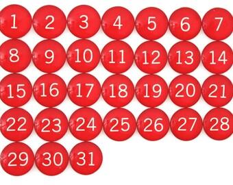 31 Red Calendar Number Glass Magnets