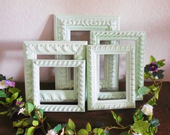 Mint Green Frames, Baroque Picture Frame Set, Ornate, Collage, Seafoam, Sage Distressed Ornate, Set of 5 Gallery Wall, Nursery 4X6, 5X7