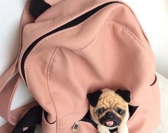 Free shipping-Cute dog-puppy-pug dog-handmade-soft toy-pet toy