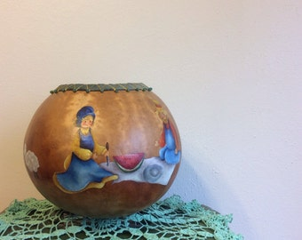 Hand-Painted Hollowed Out Gourd w/Stitching and Decorative Beads on Top