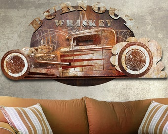 Metal Wall Art 3d Dimensional Burn Out Whiskey Metal Sculpture