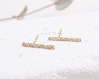 Slim CZ Pave Stick Stud Earrings