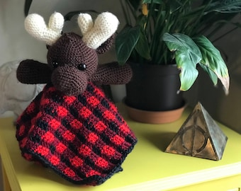Crochet Baby Blanket Lovey, plaid and moose