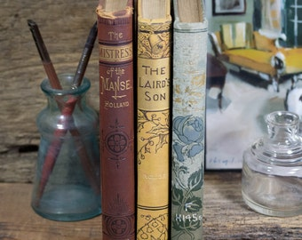Set of Three Hard Cover Antique Books, Shabby Decor, Display, Collection, Photo Props, Burgundy, Blue, Yellow