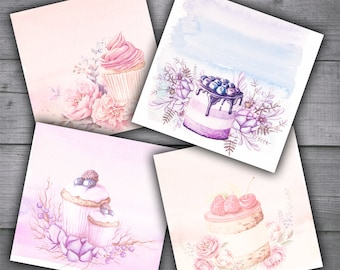 Pastel Watercolor Dessert Cards - Cupcakes and Desserts Digital Collage Sheet Printables