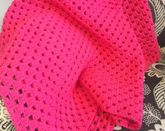 Pink Baby Blanket - Crocheted Granny Square