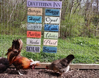 Chicken Signs, Chicken Coop Signs, Chicken Coop Decor, Name Signs, Barn, Wood Signs, Duck, Chicken, Rustic, Handpainted, Farm, Country Decor