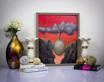 """Original Painting. """"She Should Be Respected As Such."""" Canvas Art Surrealism Landscape Art Wall Art Home Decor"""