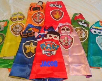 PERSONALIZED Paw Patrol Cape! Paw Patrol Birthday Party!! Chase,  Marshall,  Skye,  Everest,  Rubble,  Rocky, Zuma, Tracker, Apollo, Ryder