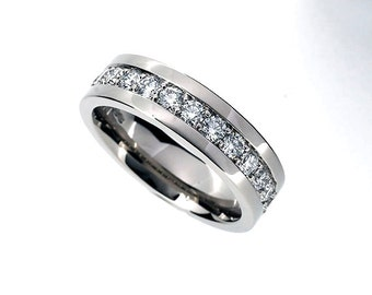 1.05ct Diamond wedding band made from white gold, man diamond ring, wide wedding ring, diamond eternity, unique, men wedding ring, modern