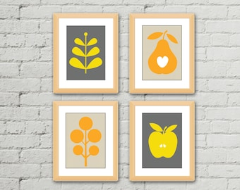 Kitchen Wall Art , Kitchen Wall Decor , Kitchen Print Set , Kitchen Art , Modern Kitchen Print Set , Set Of 4 Prints , Printble Kitchen Art