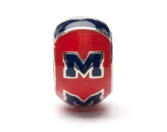 Ole Miss Round Red and Blue Bead Charm For Bracelet or Necklace - Fits Pandora