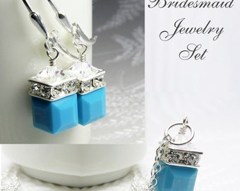 Turquoise Crystal Jewelry Set, Sterling Silver, Swarovski Cube Pendant Necklace and Earrings, December Birthday Gift, Teal Birthstone