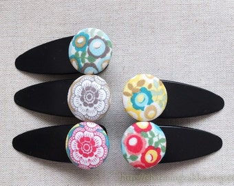 Hair Accessories Fabric Button Large Hair Clips Barrettes-Lovely Colorful Spring Blooming Floral Flower Garden(1PCS, Choose Pattern)