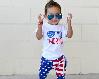 boy - 4th of July - bodysuit - toddler - merica - kids - tshirt - unisex - gift for baby - baby - girl - red white and blue