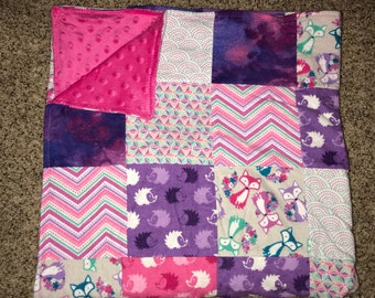Baby girl fox and hedgehog and fox patchwork minky blanket