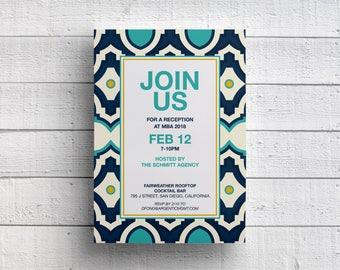 Corporate Event Invitation, Company Dinner Invitation, Fundraiser Invitation, Cocktail Party Invite, Reception, Moroccan, Blue and Yellow