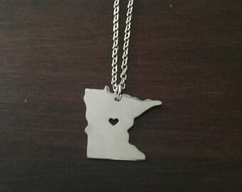 Minnesota Necklace, Minnesota, silver Minnesota necklace, Minnesota jewelry, Minnesota pendant, state necklace, state jewelry, necklace
